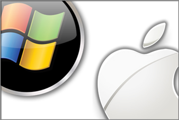 Logo PC y logo Apple